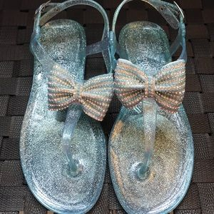 Shoes - Beach Sandals with Rhinestone Bow - Teal